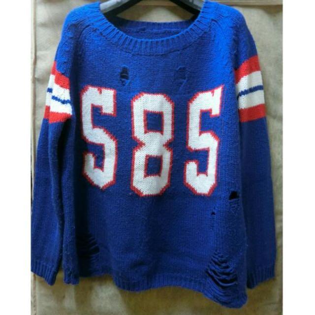 藍色針織毛衣