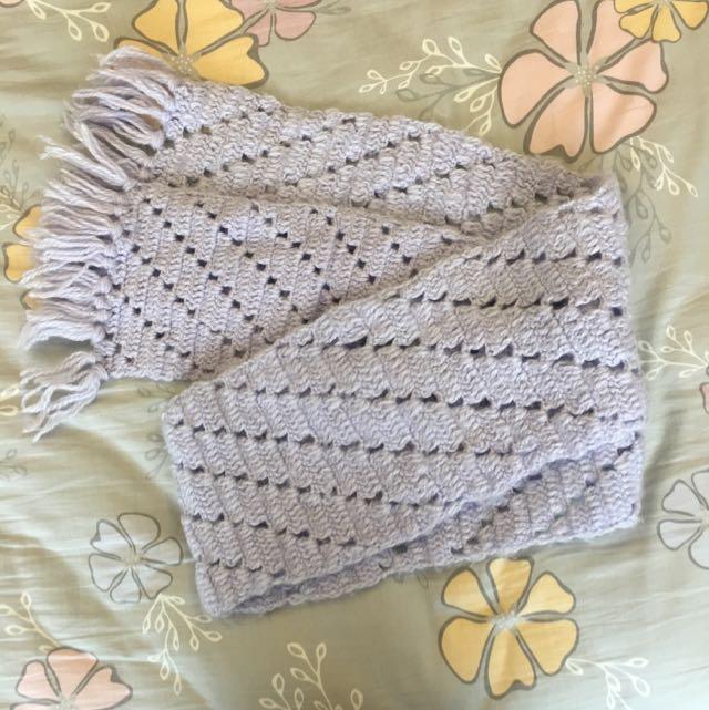 紫色手織圍巾