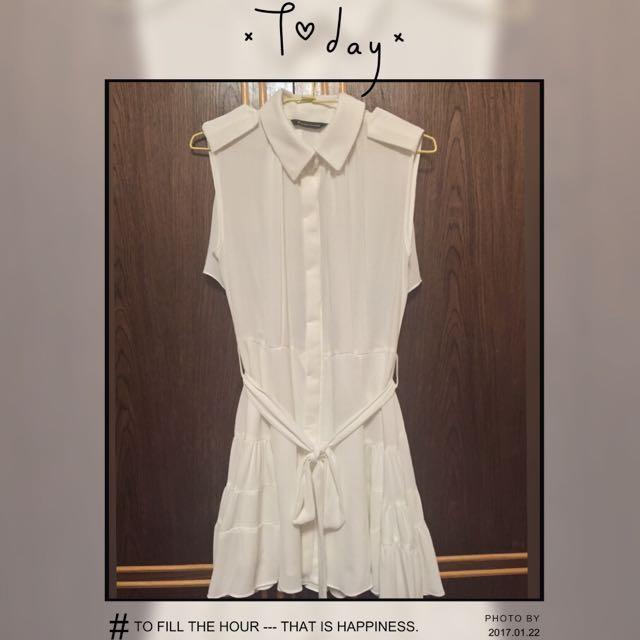 正韓白色襯衫洋裝
