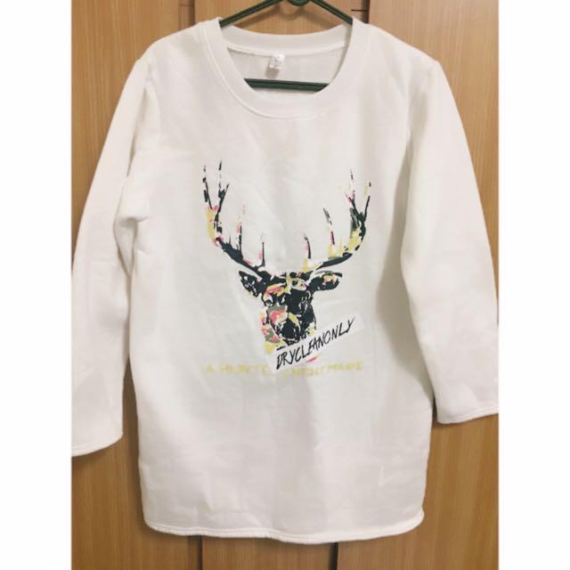 小鹿內刷毛白色長版上衣