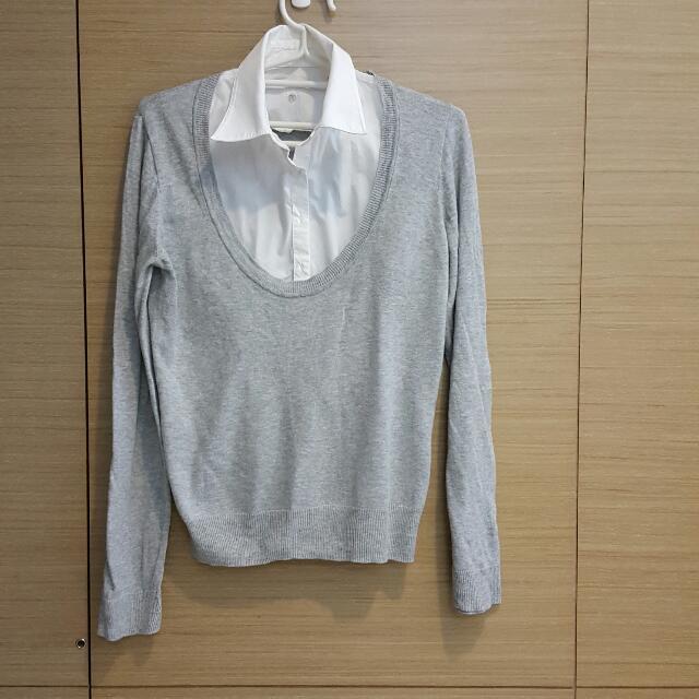 假領子灰色毛衣
