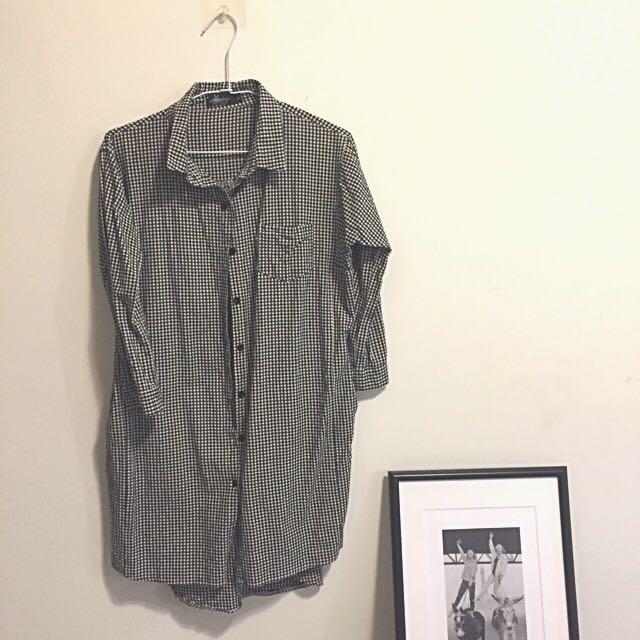 森林系無印風黑白細格紋襯衫洋裝 可當外搭(高雄可面交)