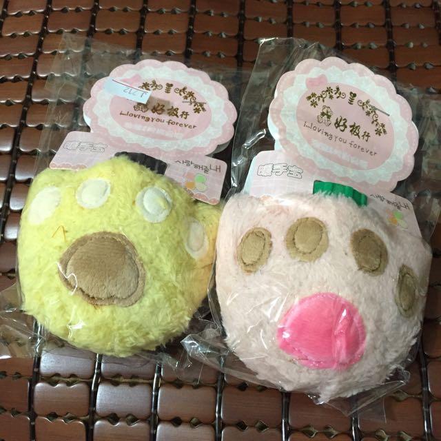 熊掌熱水暖手寶 粉/黃