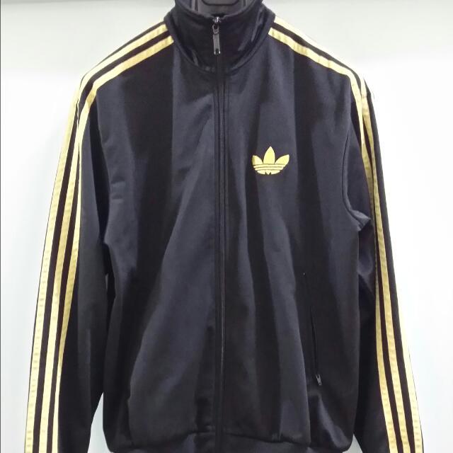 Adidas track top nero / oro metallico firebird, dimensioni, uomini
