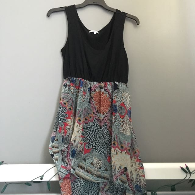 Asymmetric Black And Patterned Dress Size M