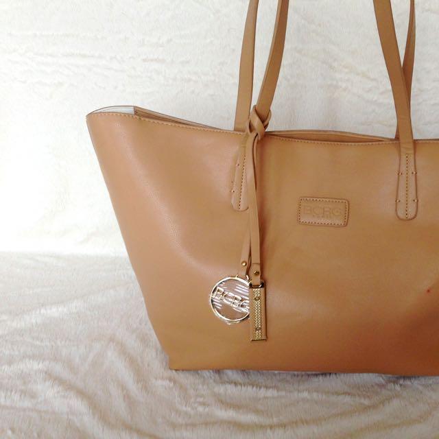 BCBG Beige Leather Tote Bag