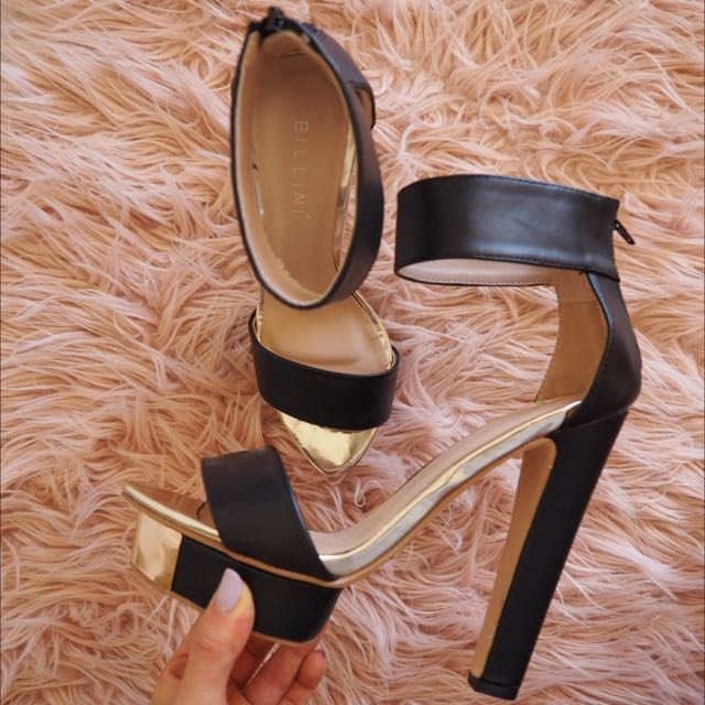 Billini - Platform Heels (Black/Gold) 7