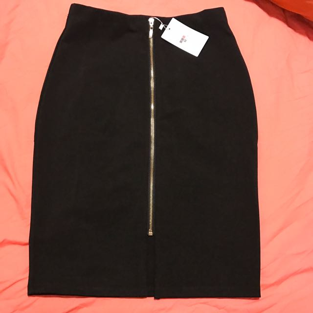 Black Pencil Skirt Gold zipper