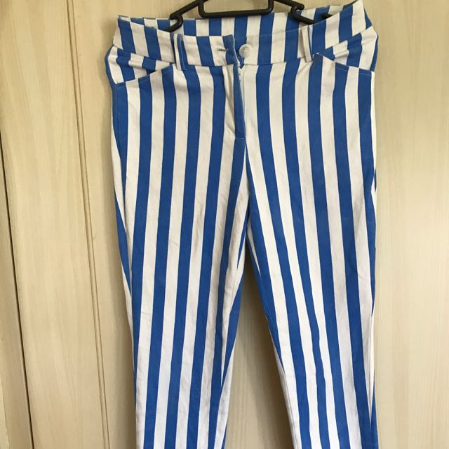 blue & white stripe pants