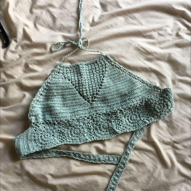 Blue Crochet Tie Crop