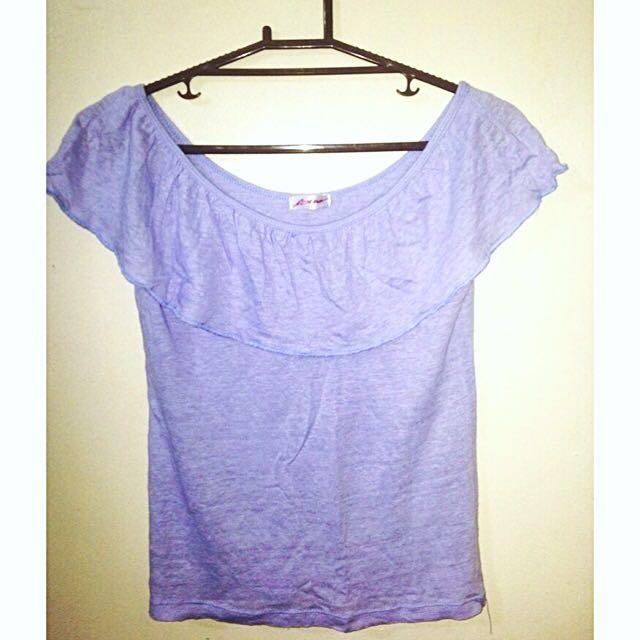 Blue Off-shoulders Top