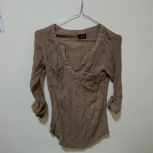 Brown Blouse (Bardot) Size 8
