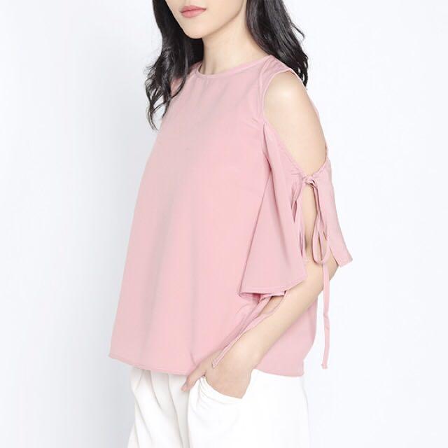 Cotton Ink - Pink Cold Shoulder Top Size S