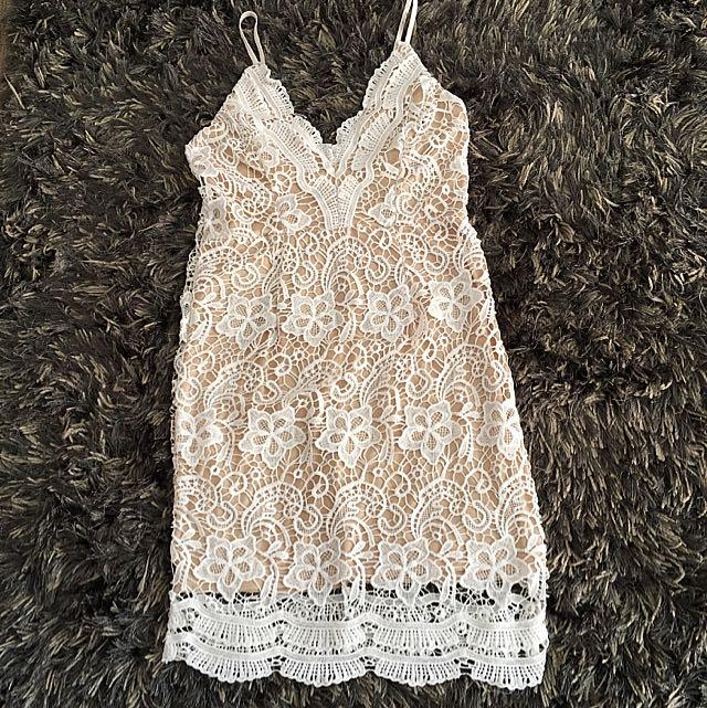 Cream Laced Dress