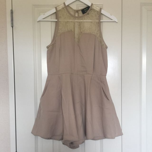 Cream Lacey Playsuit