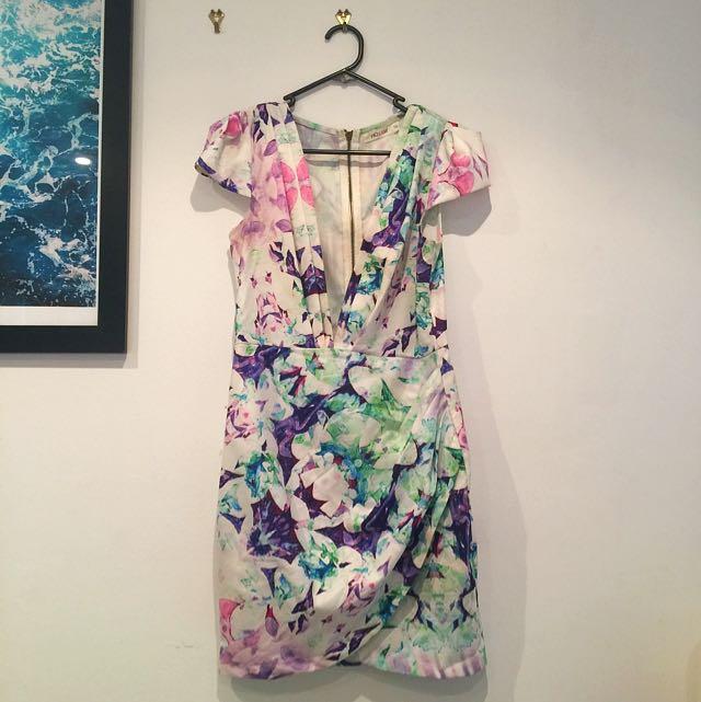 Floral Low Cut Dress Size 10