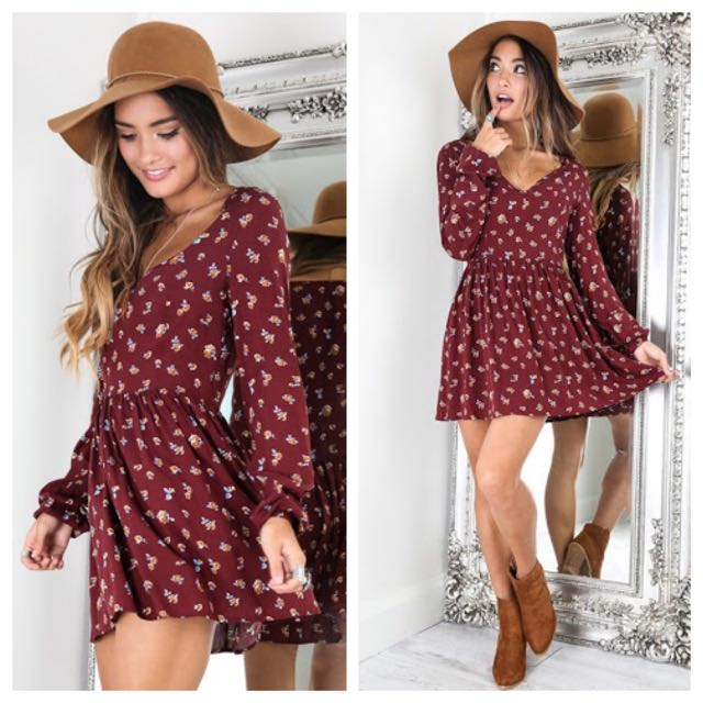 Floral Print Long Sleeve Mini Dress Size 8