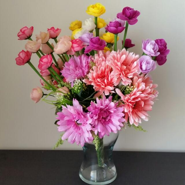 Flowers And Glass Vase