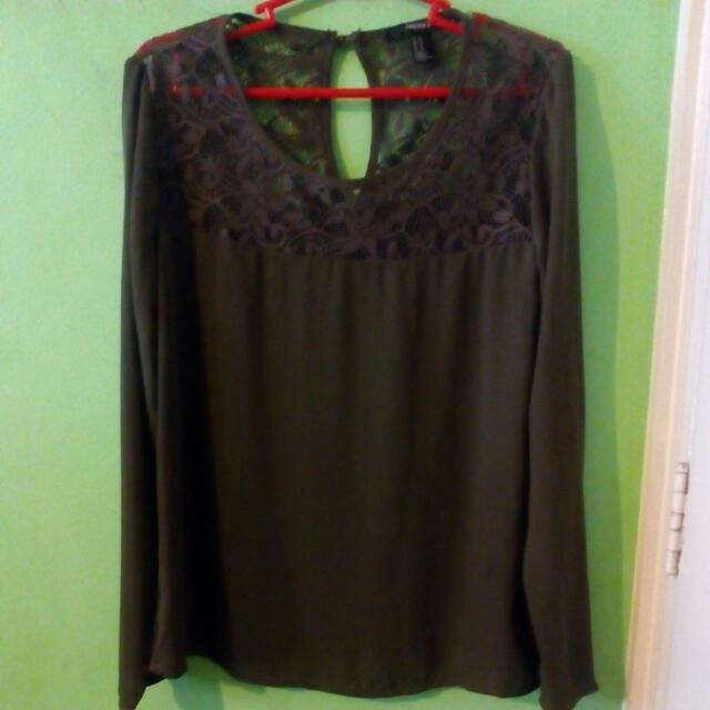 Forever 21 Army Green Lace Chiffon Blouse