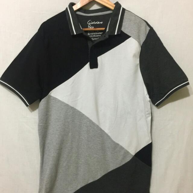 Giordano Polo Black White Stripes Size XL Original 100%