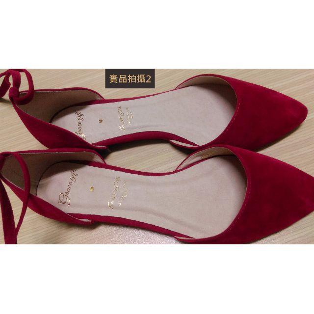 (僅試穿)Grace gift-絨布尖頭綁帶平底鞋**紅色