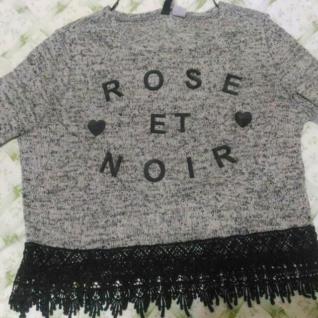 H&M Knitted Cropped Long Sleeves (W/ Crochet Details)