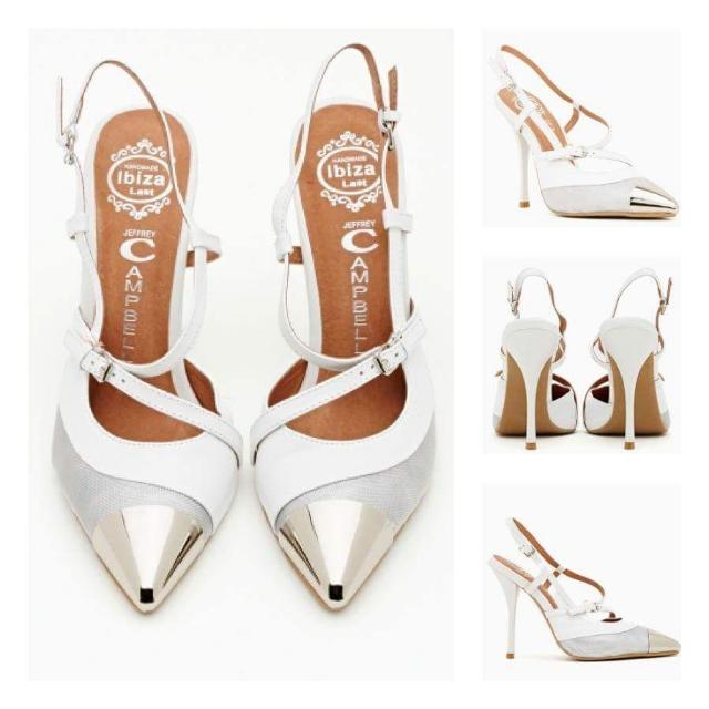 JEFFREY CAMPBELL Seki White Leather Pump In White/Silver | Size 7 | RRP $250