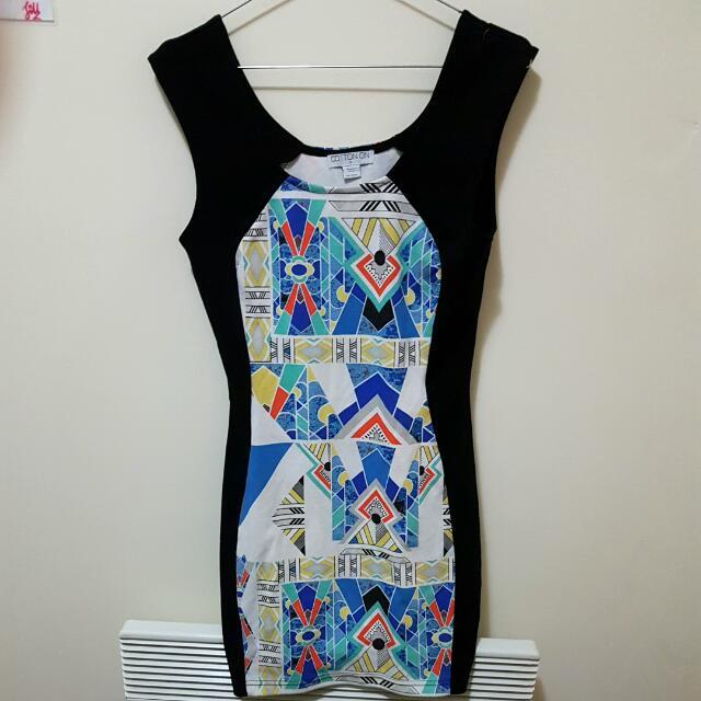 Kaleidoscope Bodycon Dress (Cotton On) Size 8 S