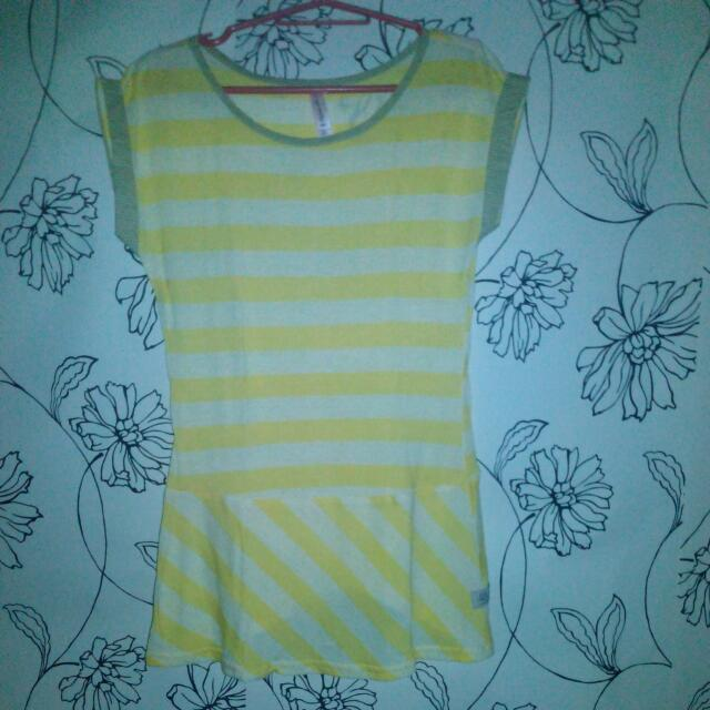 (REPRICED) Lee Yellow and White Stripes Long Top