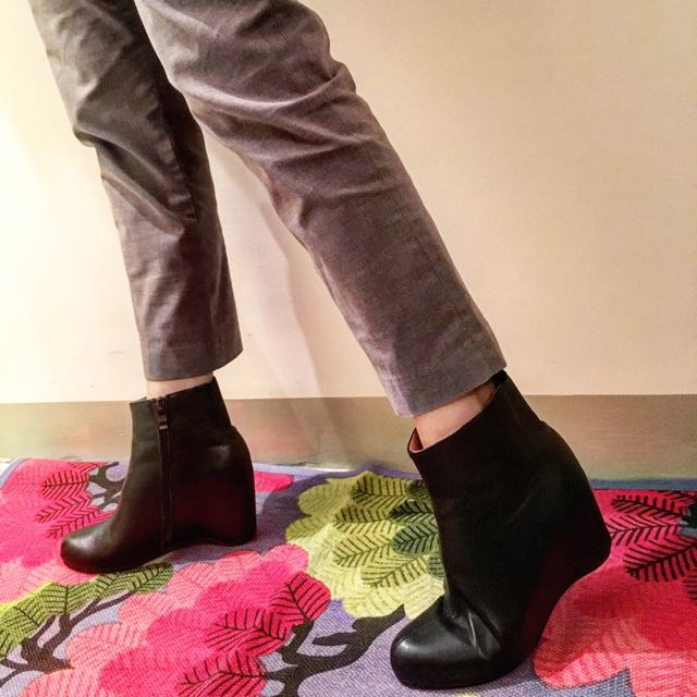 Maison Martin 內增高真皮踝靴