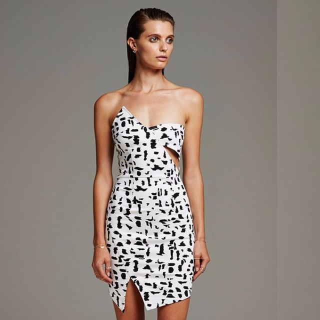 Maurie and Eve - Strapless Dress Black/White XS(6)