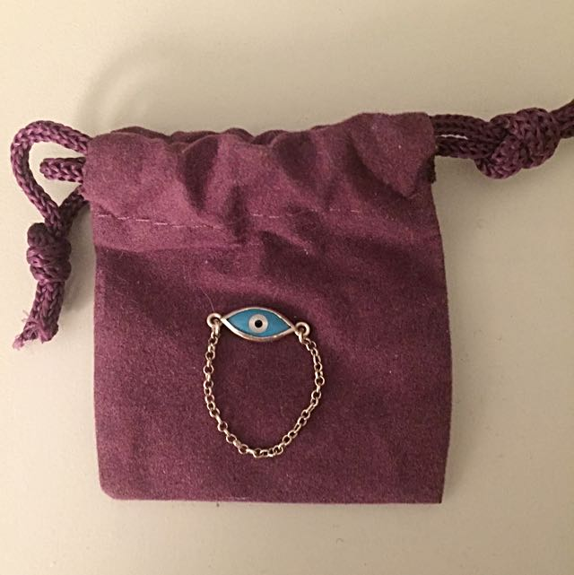 Mejuri Silver Evil Eye Ring Blue Ring Size: 7