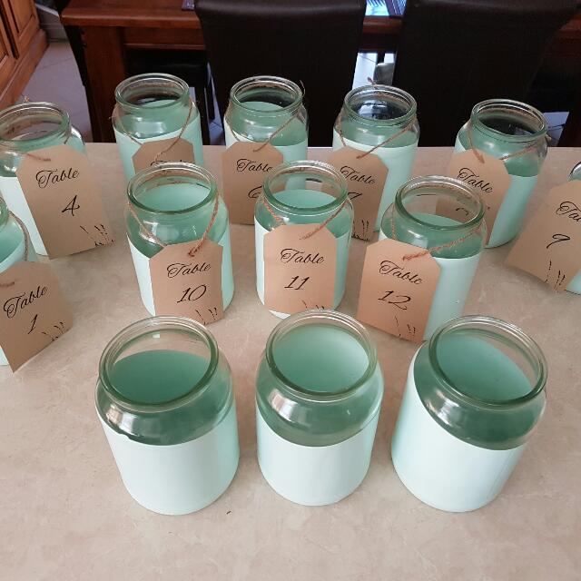 Mint Green Large Jars Wedding Decor Table Numbers