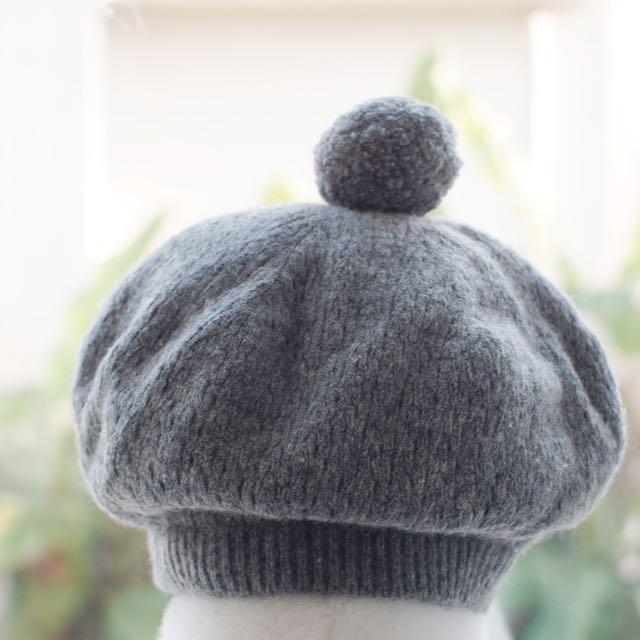 MUJI 無印良品針織毛帽球帽/貝雷帽(灰)