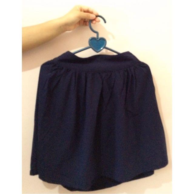 Navy Flare Skirt