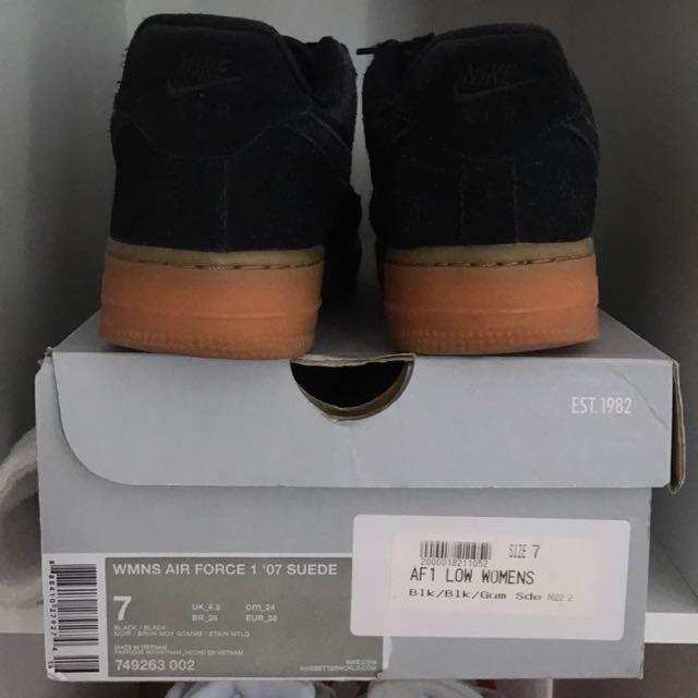 Nike AF1 '07 Black Suede Gum Sole