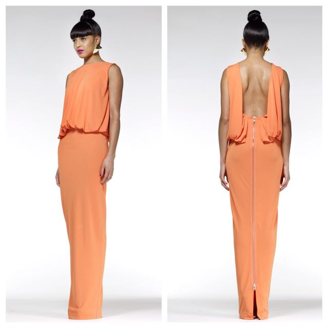 Orange Backless Maxi Dress Size 8