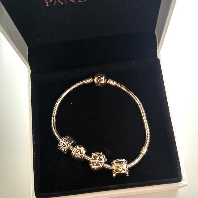 Pandora Bracelet With 4 Charms 2 With Gold Accents