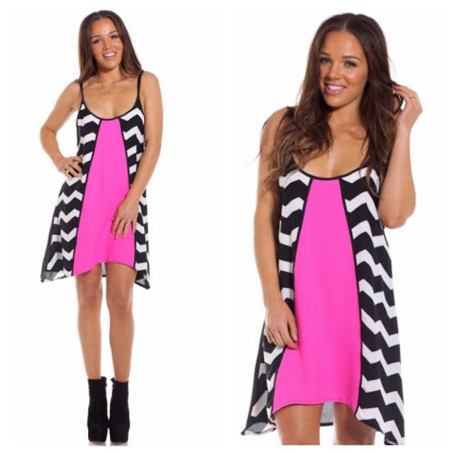 Pink Black And White Swing Dress Size Small
