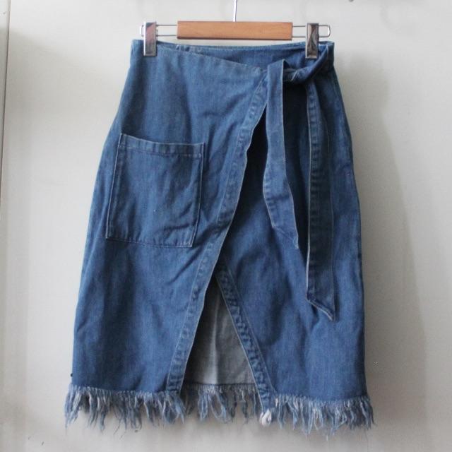 pull & bear denim raw hem wrap skirt