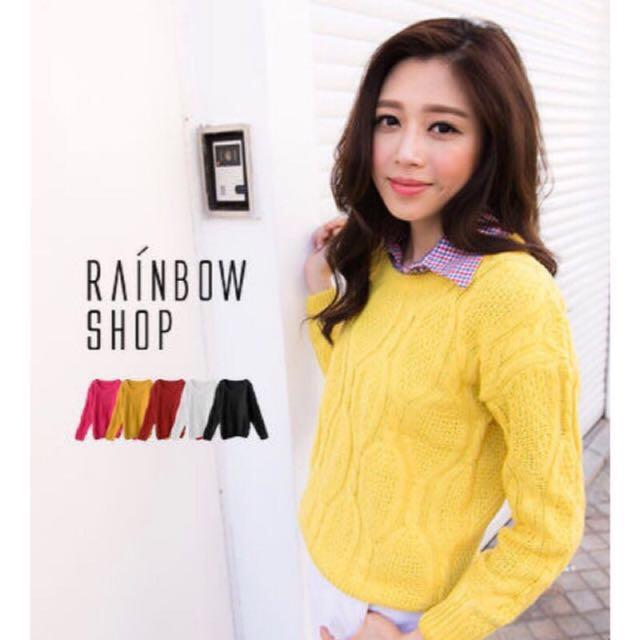 Rainbow shop 黃色針織長袖毛衣