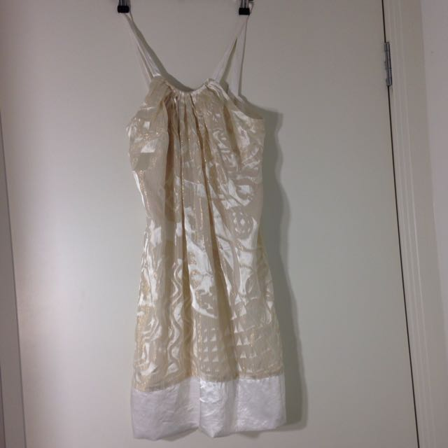 Size 8 Cooper St Ivory Gold Dress