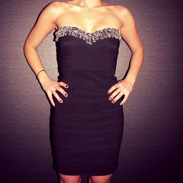 Strapless Embellished Evening Dress