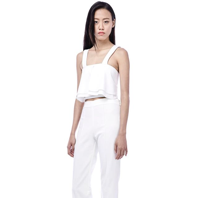 The Editor's Market - White Crop Top Size S