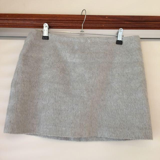 Topshop Grey Felt Mini Skirt