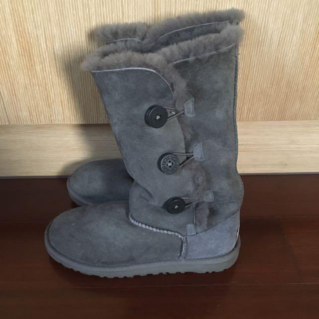UGG正版灰色軟毛長靴