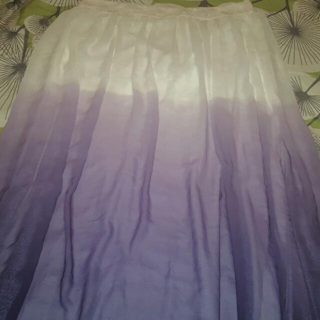 white and purple gradient maxi skirt