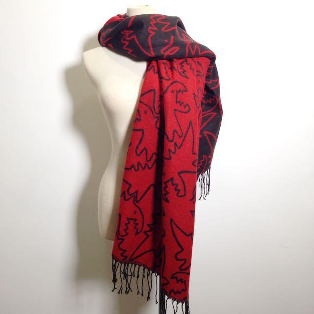 Y2™(現貨)歐美剪裁簡約恐龍小b圍巾雙面羊絨流蘇造型▪️休閒寬鬆時尚大版中大尺碼顯瘦修身設計款大碼女裝韓版