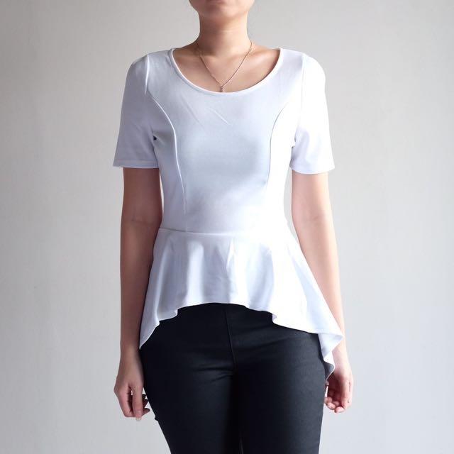Zalora - White Peplum Top Size S