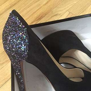 Size 7.5 Black Suede Peep Toe Heels! Form Boutique 9, 9 West.